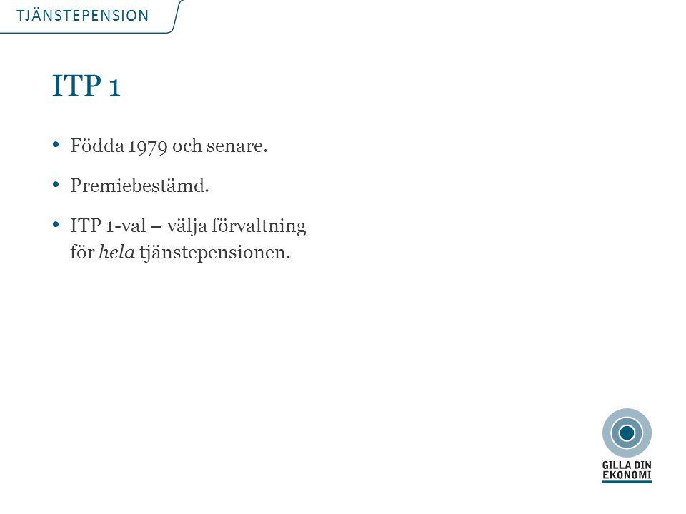 TJÄNSTEPENSION ITP 1 Födda 1979 och senare. Premiebestämd. ITP 1-val – välja förvaltning för hela tjänstepensionen.