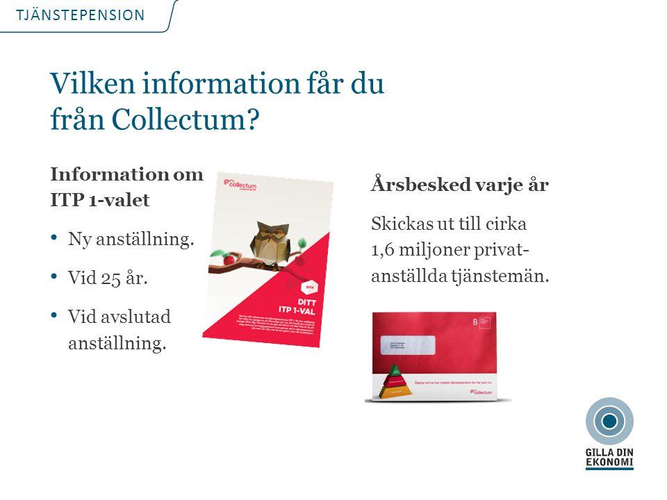 TJÄNSTEPENSION Vilken information får du från Collectum? Information om ITP 1-valet Ny anställning. Vid 25 år. Vid avslutad anställning. Årsbesked var