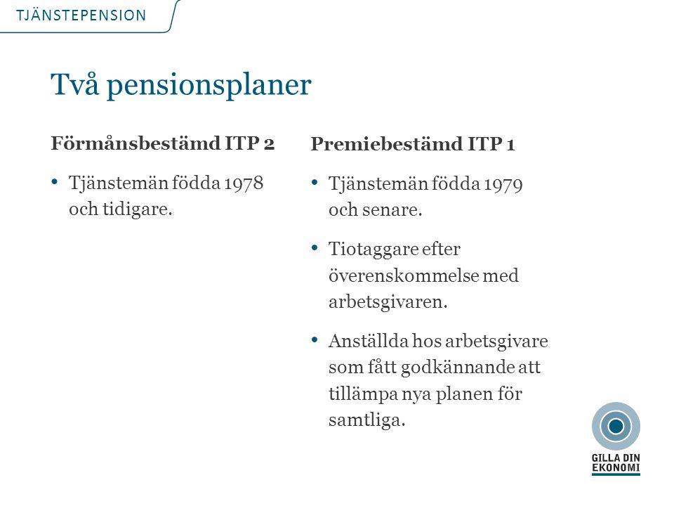 TJÄNSTEPENSION Premiebestämd ITP 1 Tjänstemän födda 1979 och senare. Tiotaggare efter överenskommelse med arbetsgivaren. Anställda hos arbetsgivare so
