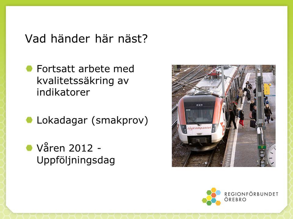 Vad händer här näst? Fortsatt arbete med kvalitetssäkring av indikatorer Lokadagar (smakprov) Våren 2012 - Uppföljningsdag