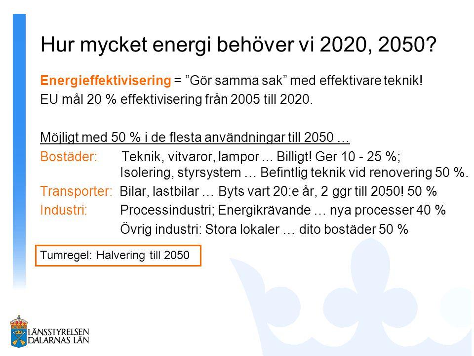 Hur mycket energi behöver vi 2020, 2050.