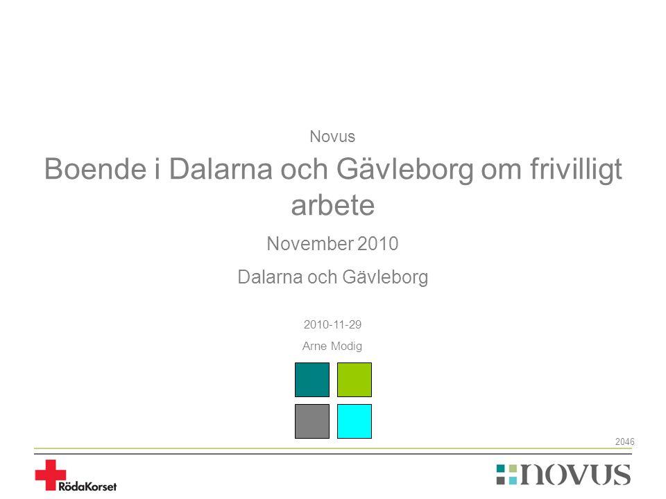 Novus Boende i Dalarna och Gävleborg om frivilligt arbete November 2010 Dalarna och Gävleborg 2010-11-29 Arne Modig 2046