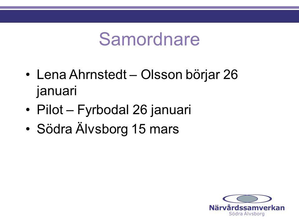 Samordnare Lena Ahrnstedt – Olsson börjar 26 januari Pilot – Fyrbodal 26 januari Södra Älvsborg 15 mars