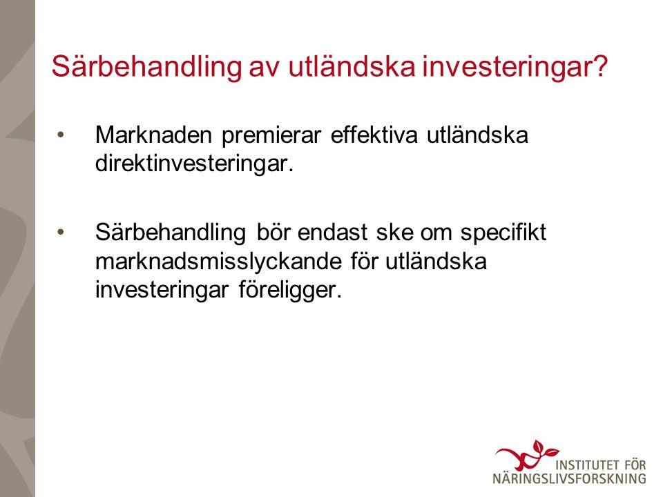 Särbehandling av utländska investeringar.