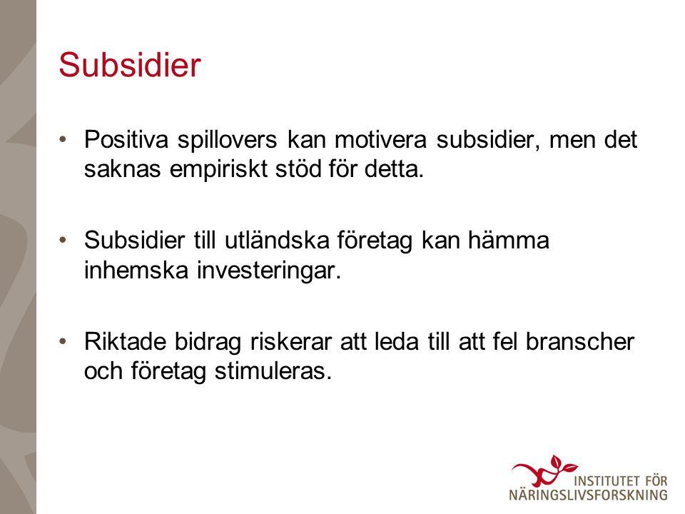 Subsidier Positiva spillovers kan motivera subsidier, men det saknas empiriskt stöd för detta.