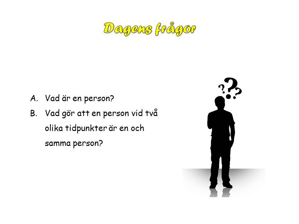 A.Vad är en person B.Vad gör att en person vid två olika tidpunkter är en och samma person
