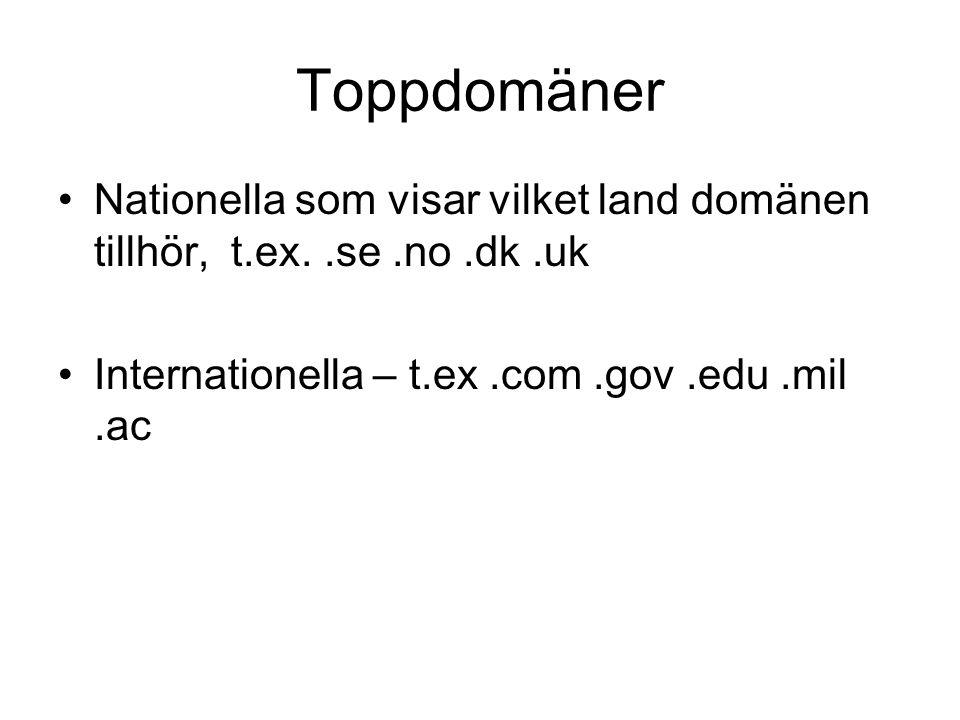 Toppdomäner Nationella som visar vilket land domänen tillhör, t.ex..se.no.dk.uk Internationella – t.ex.com.gov.edu.mil.ac