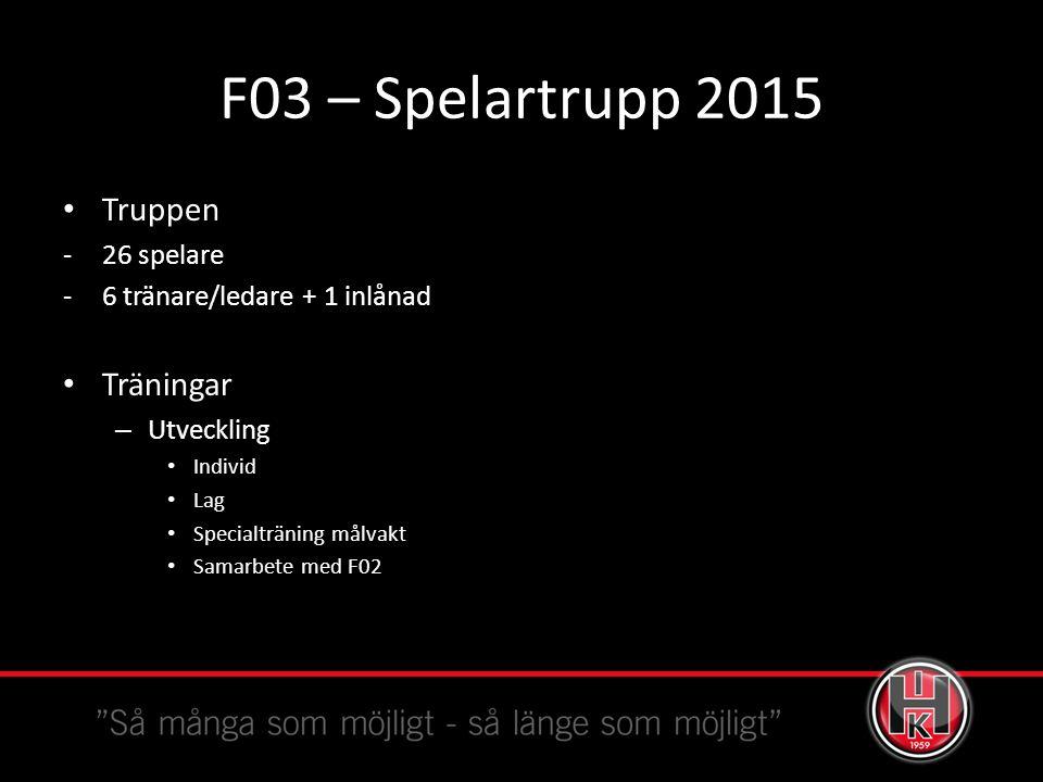 F03 – Spelartrupp 2015 Truppen -26 spelare -6 tränare/ledare + 1 inlånad Träningar – Utveckling Individ Lag Specialträning målvakt Samarbete med F02