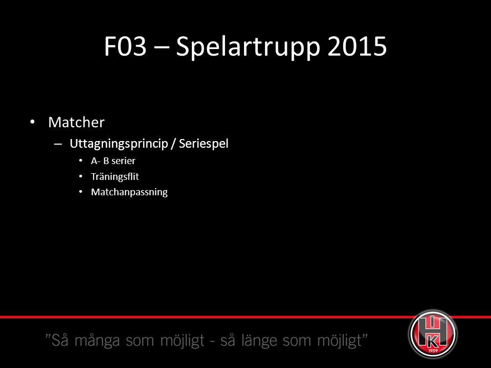 F03 – Spelartrupp 2015 Matcher – Uttagningsprincip / Seriespel A- B serier Träningsflit Matchanpassning