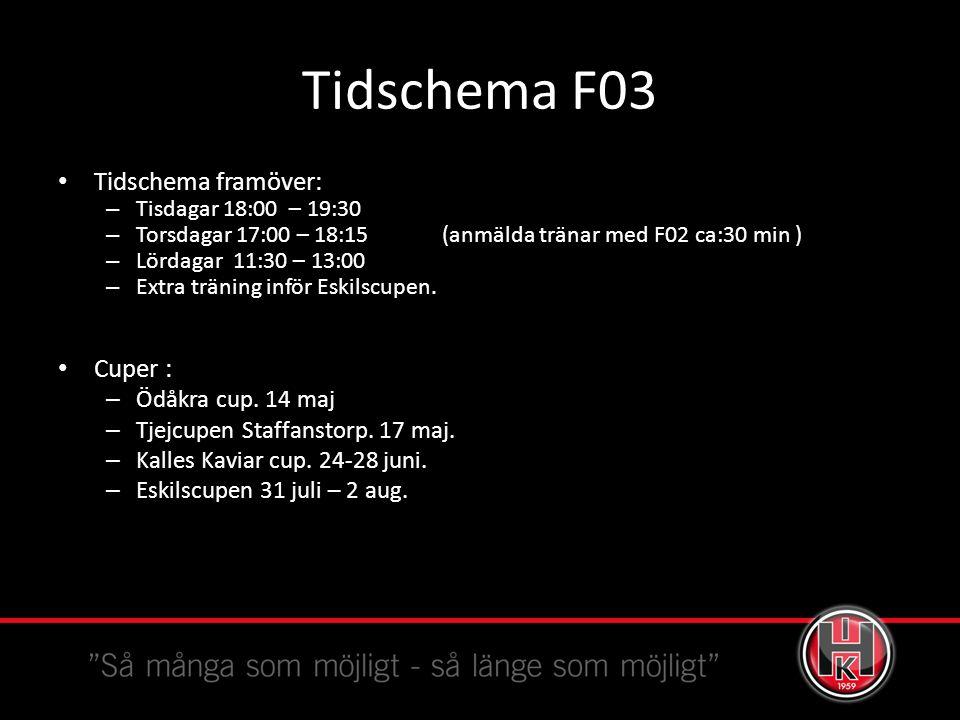Tidschema F03 Tidschema framöver: – Tisdagar 18:00 – 19:30 – Torsdagar 17:00 – 18:15 (anmälda tränar med F02 ca:30 min ) – Lördagar 11:30 – 13:00 – Extra träning inför Eskilscupen.