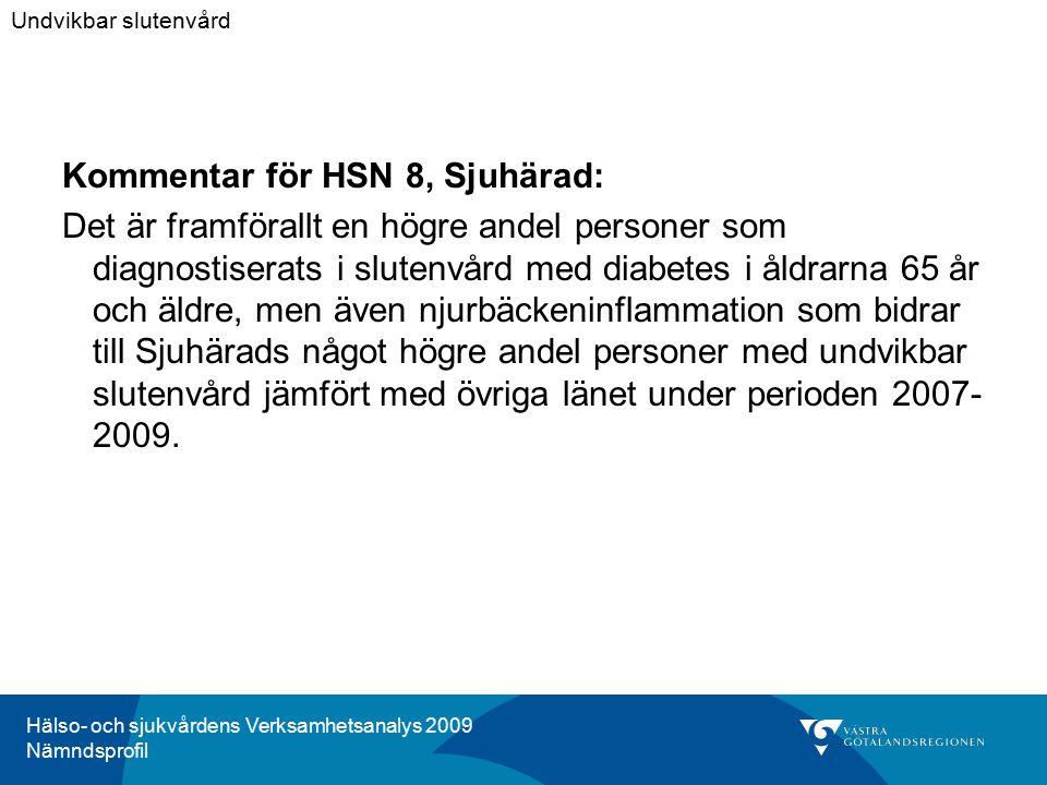 Hälso- och sjukvårdens Verksamhetsanalys 2009 Nämndsprofil Kommentar för HSN 8, Sjuhärad: Det är framförallt en högre andel personer som diagnostisera