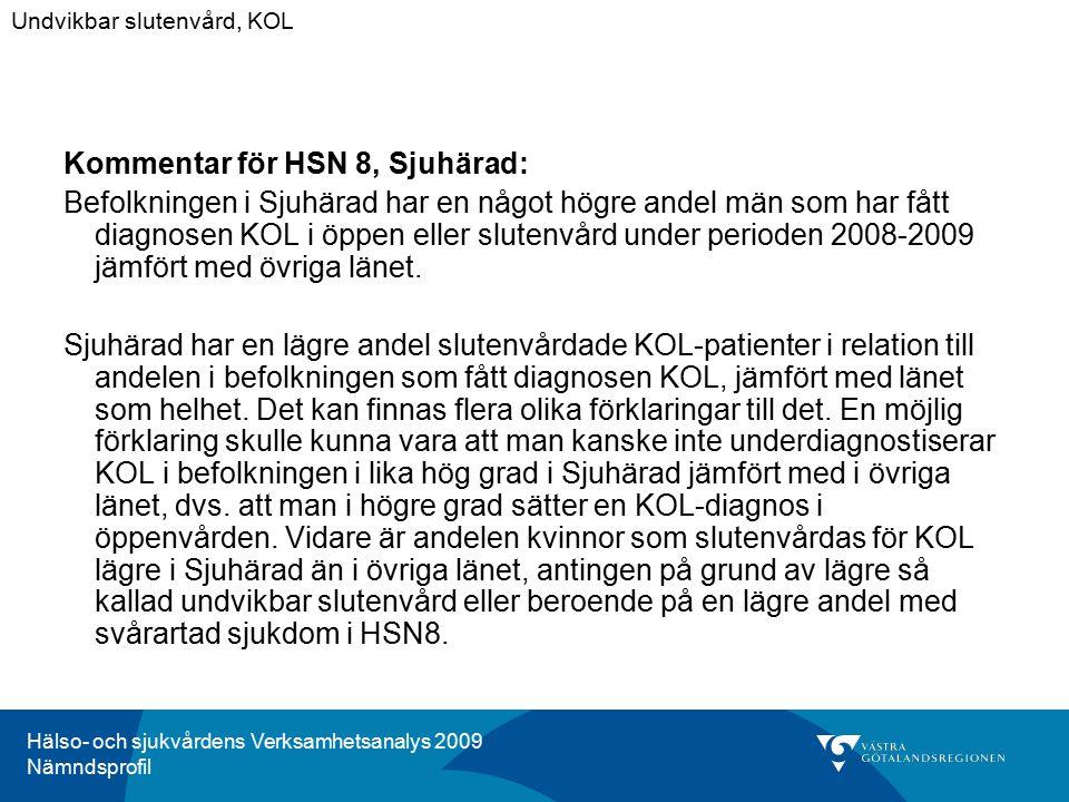 Hälso- och sjukvårdens Verksamhetsanalys 2009 Nämndsprofil Kommentar för HSN 8, Sjuhärad: Befolkningen i Sjuhärad har en något högre andel män som har fått diagnosen KOL i öppen eller slutenvård under perioden 2008-2009 jämfört med övriga länet.
