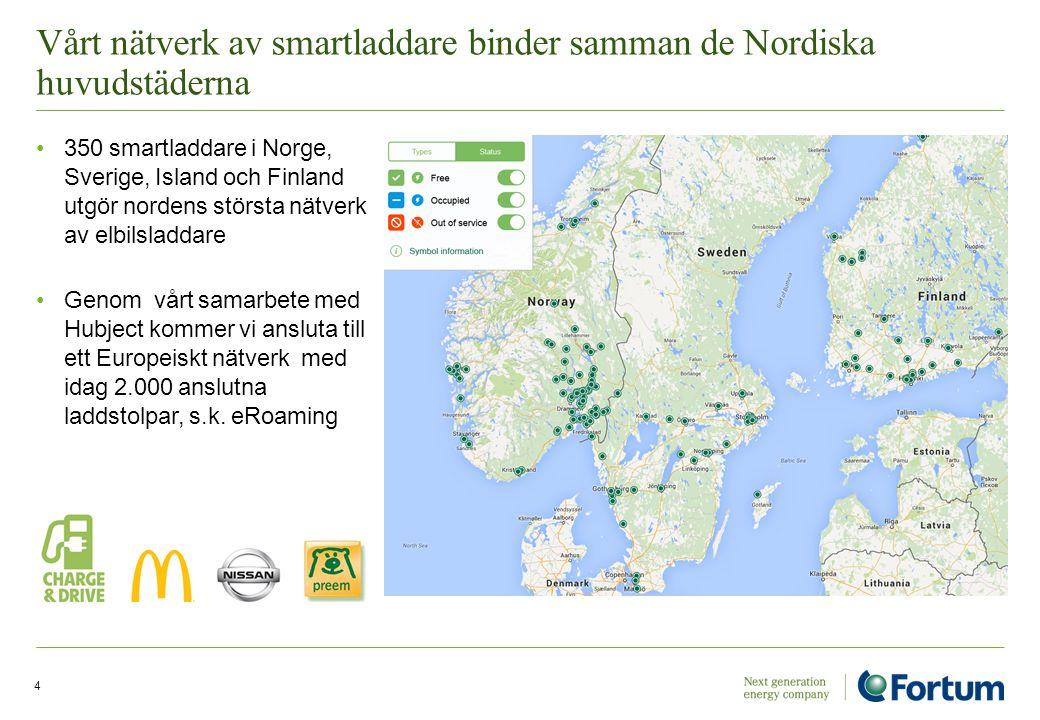 Vårt nätverk av smartladdare binder samman de Nordiska huvudstäderna 350 smartladdare i Norge, Sverige, Island och Finland utgör nordens största nätve