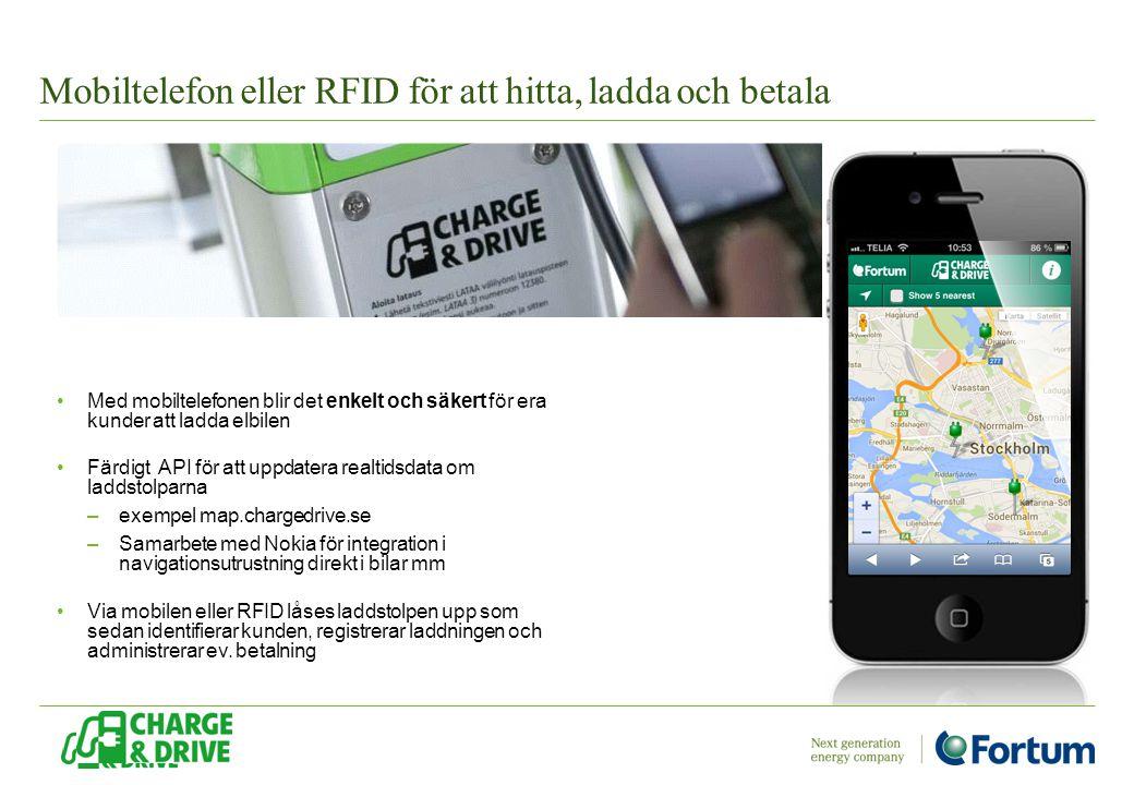 Mobiltelefon eller RFID för att hitta, ladda och betala Med mobiltelefonen blir det enkelt och säkert för era kunder att ladda elbilen Färdigt API för