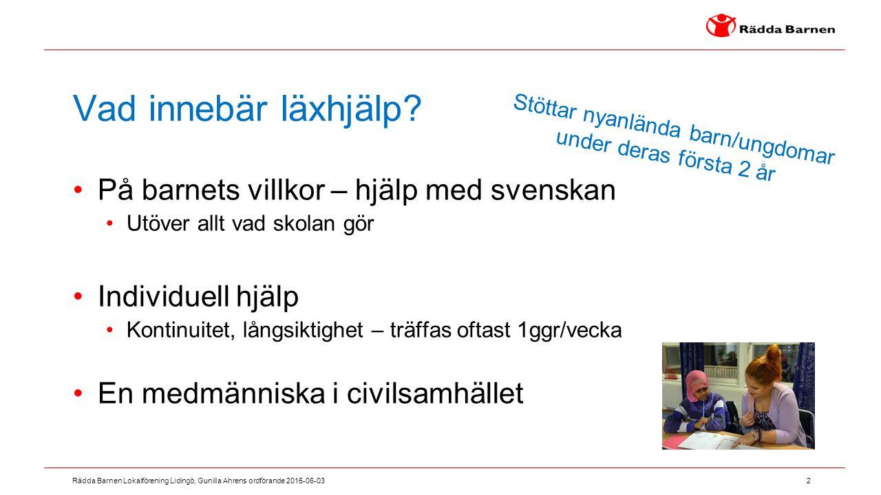 2 Rädda Barnen Lokalförening Lidingö, Gunilla Ahrens ordförande 2015-06-03 Vad innebär läxhjälp? På barnets villkor – hjälp med svenskan Utöver allt v