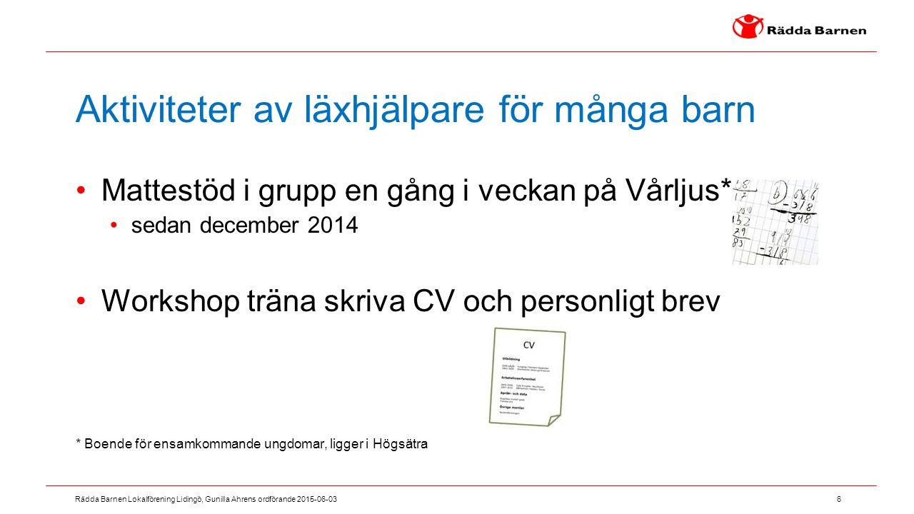 6 Rädda Barnen Lokalförening Lidingö, Gunilla Ahrens ordförande 2015-06-03 Aktiviteter av läxhjälpare för många barn Mattestöd i grupp en gång i vecka