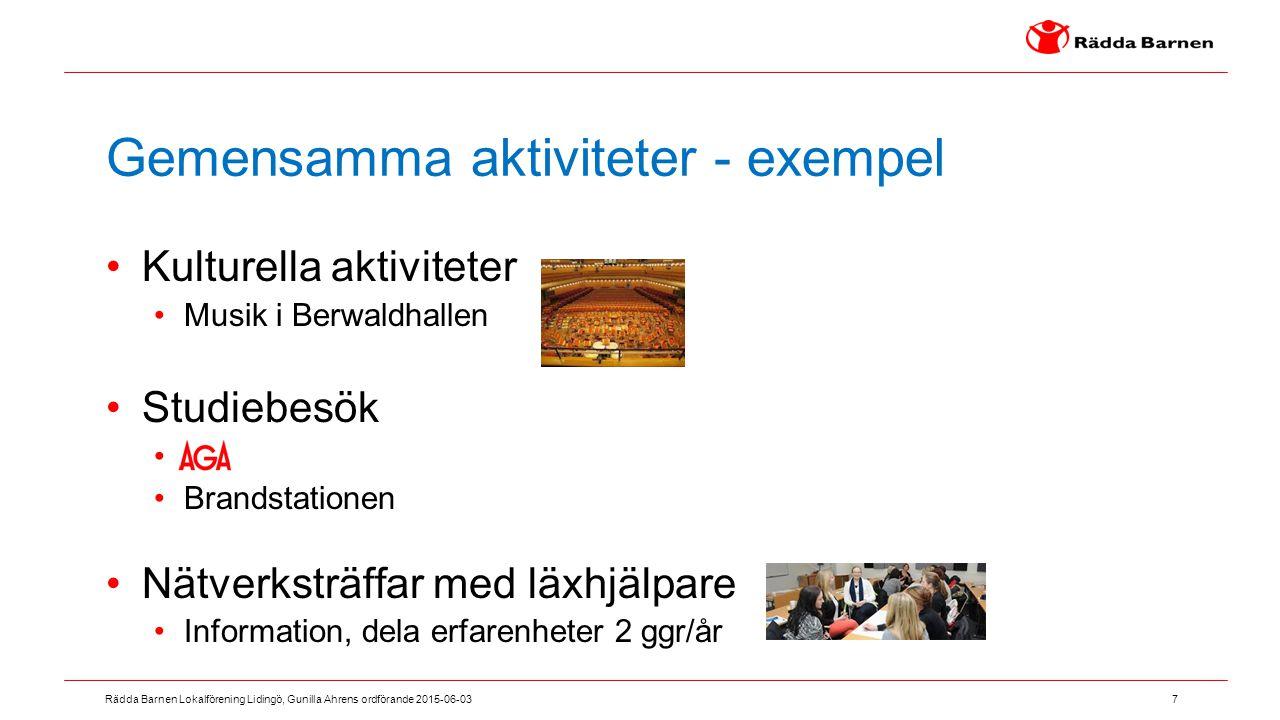 7 Rädda Barnen Lokalförening Lidingö, Gunilla Ahrens ordförande 2015-06-03 Gemensamma aktiviteter - exempel Kulturella aktiviteter Musik i Berwaldhall