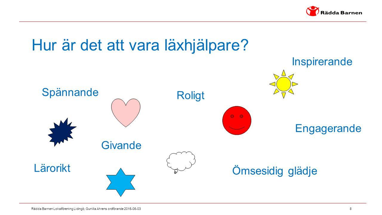 8 Rädda Barnen Lokalförening Lidingö, Gunilla Ahrens ordförande 2015-06-03 Hur är det att vara läxhjälpare? Roligt Engagerande Givande Spännande Ömses