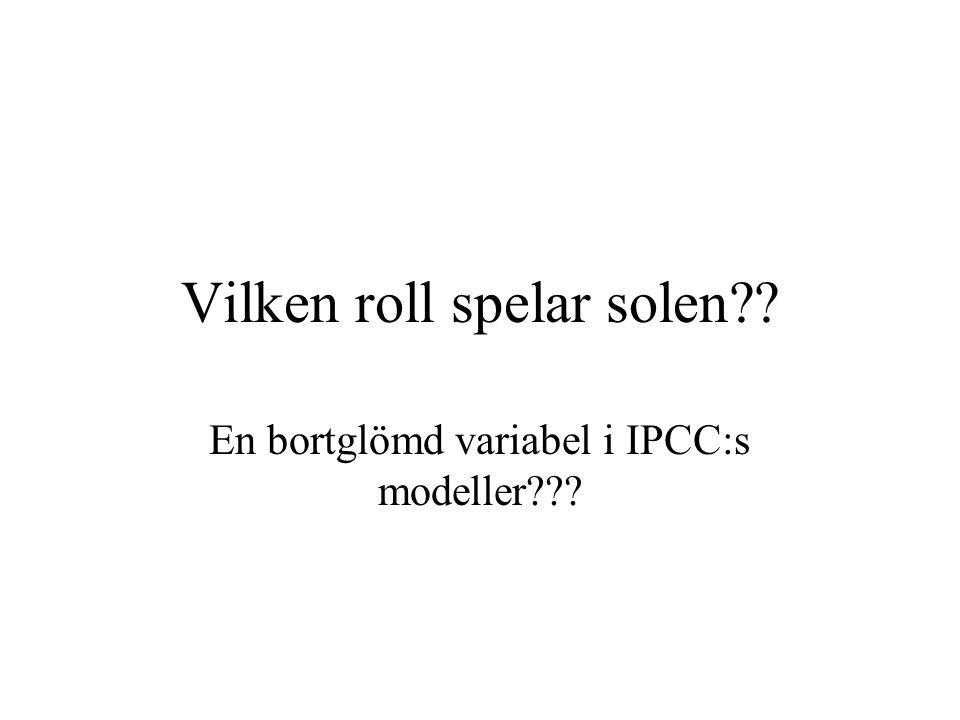 Vilken roll spelar solen?? En bortglömd variabel i IPCC:s modeller???