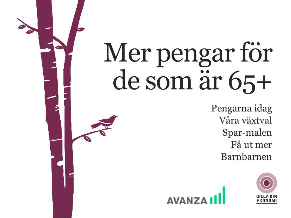 Sparlivet har förändrats PENGAR 65+ 0 år25 år50 år75 år + –