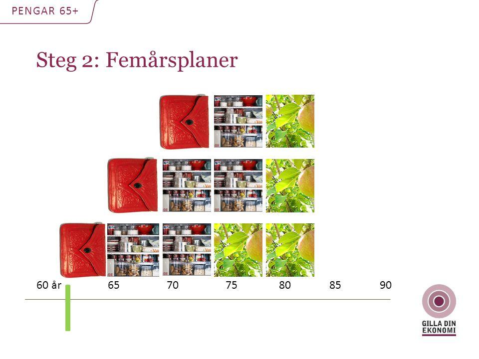 Steg 2: Femårsplaner PENGAR 65+ 60 år 65 70 75 80 85 90
