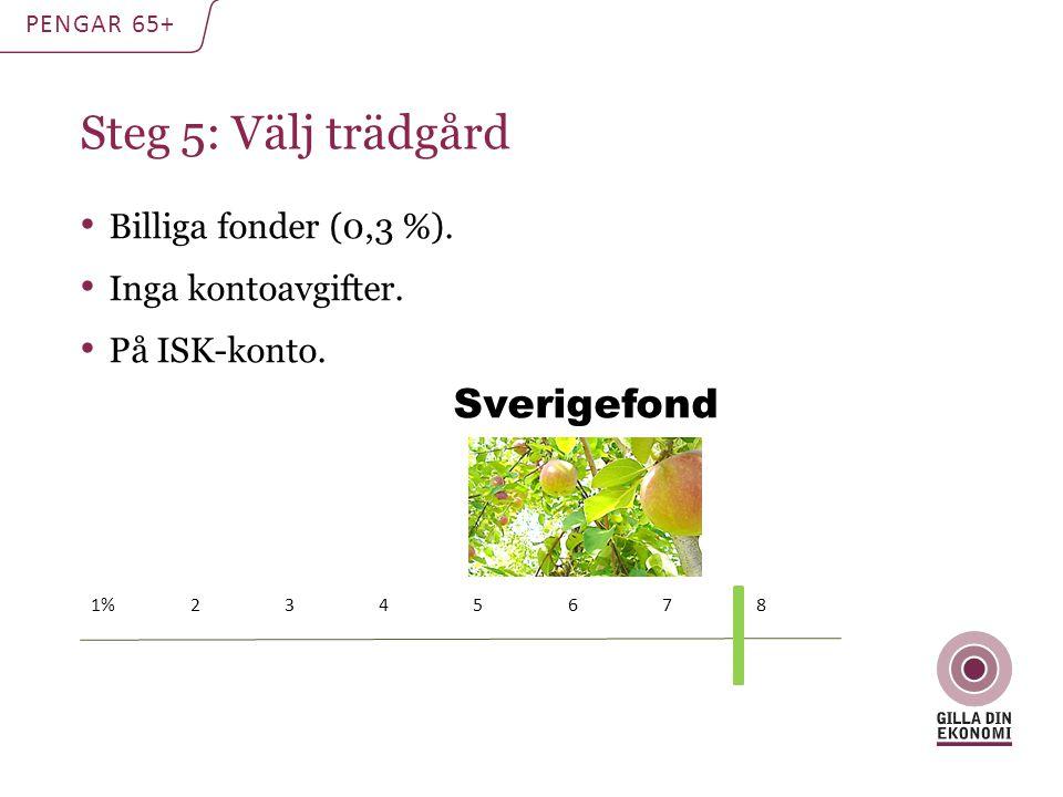 Steg 5: Välj trädgård PENGAR 65+ Billiga fonder (0,3 %). Inga kontoavgifter. På ISK-konto. 1% 2 3 4 5 6 7 8 Sverigefond