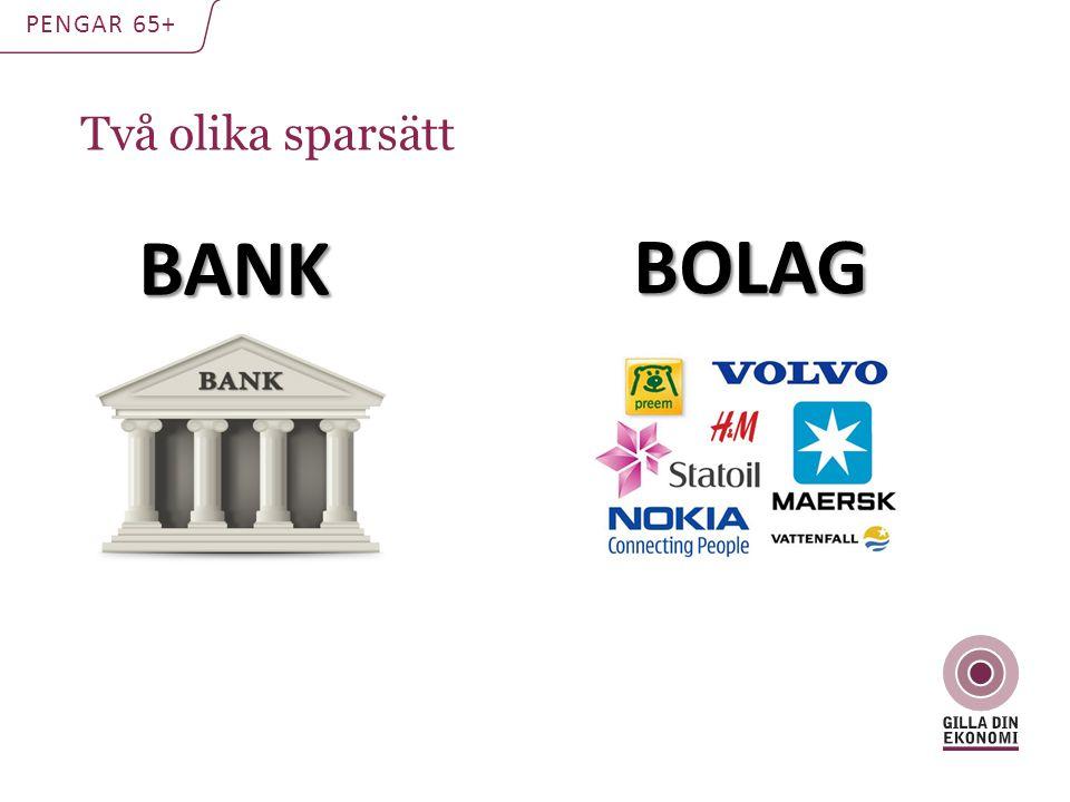 Två olika sparsätt PENGAR 65+ BANK BOLAG