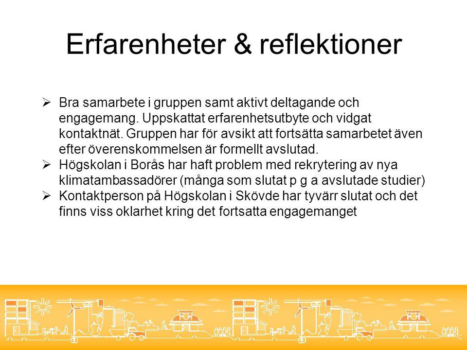 Erfarenheter & reflektioner  Bra samarbete i gruppen samt aktivt deltagande och engagemang.