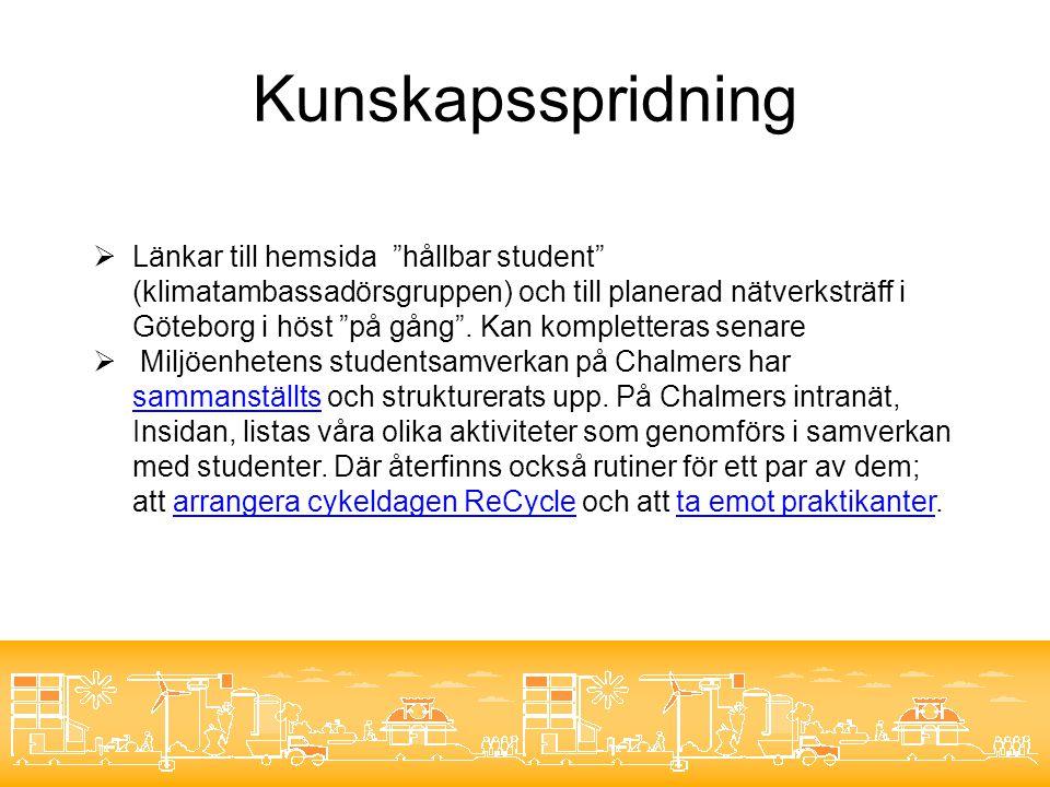 Kunskapsspridning  Länkar till hemsida hållbar student (klimatambassadörsgruppen) och till planerad nätverksträff i Göteborg i höst på gång .