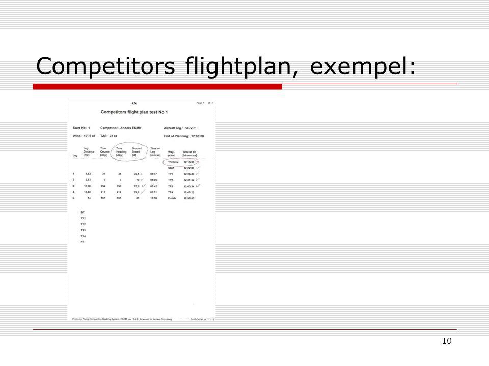 10 Competitors flightplan, exempel: