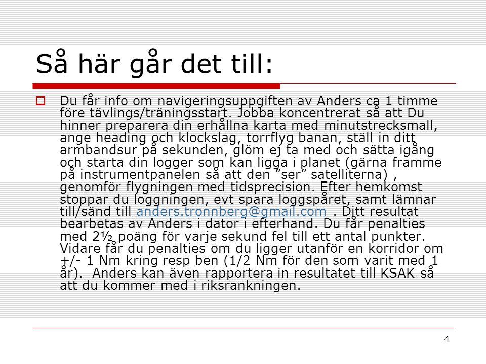 4 Så här går det till:  Du får info om navigeringsuppgiften av Anders ca 1 timme före tävlings/träningsstart.