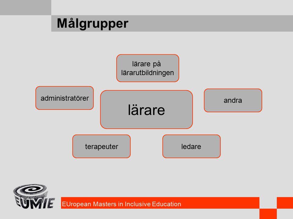 EUropean Masters in Inclusive Education Målgrupper lärare ledareterapeuter administratörer lärare på lärarutbildningen andra