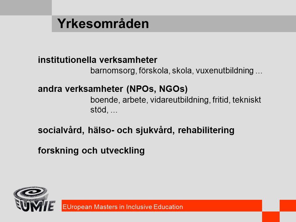 EUropean Masters in Inclusive Education Yrkesområden institutionella verksamheter barnomsorg, förskola, skola, vuxenutbildning...