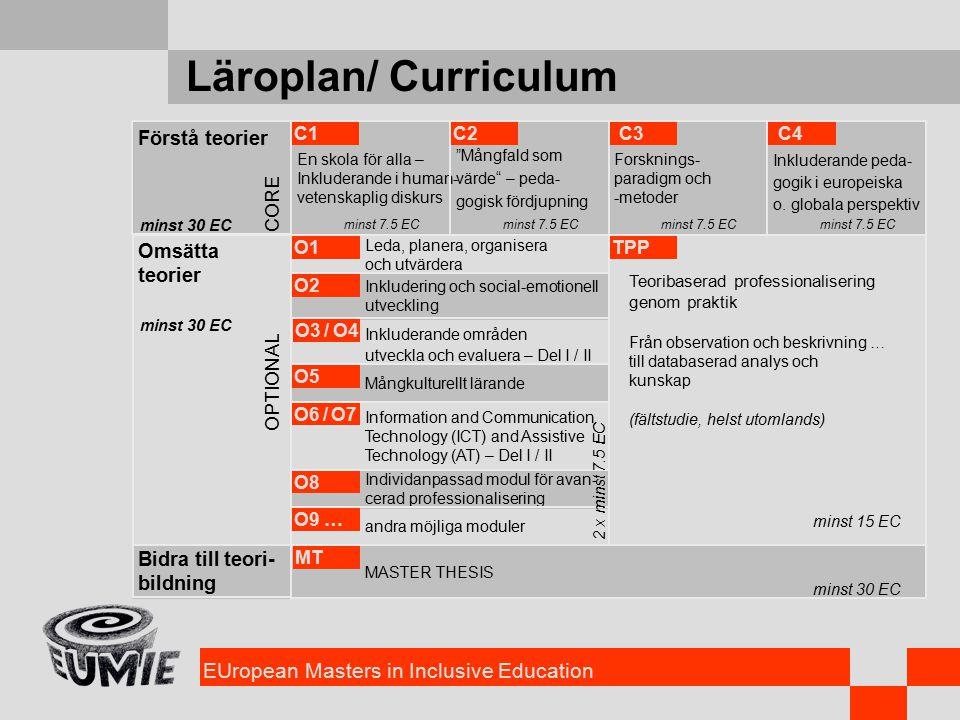 EUropean Masters in Inclusive Education Läroplan/ Curriculum Förstå teorier Omsätta teorier Bidra till teori- bildning CORE OPTIONAL minst 30 EC Leda, planera, organisera och utvärdera O1 Inkludering och social-emotionell utveckling O2 Information and Communication Technology (ICT) and Assistive Technology (AT) – Del I / II O6 / O7 Mångkulturellt lärande O5 Inkluderande områden utveckla och evaluera – Del I / II O3 / O4 Individanpassad modul för avan- cerad professionalisering O8 andra möjliga moduler O9 … En skola för alla – Inkluderande i human- vetenskaplig diskurs Mångfald som värde – peda- gogisk fördjupning Forsknings- paradigm och -metoder Inkluderande peda- gogik i europeiska o.