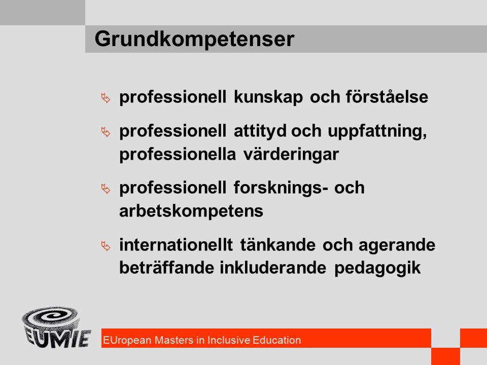 EUropean Masters in Inclusive Education Grundkompetenser  professionell kunskap och förståelse  professionell attityd och uppfattning, professionella värderingar  professionell forsknings- och arbetskompetens  internationellt tänkande och agerande beträffande inkluderande pedagogik