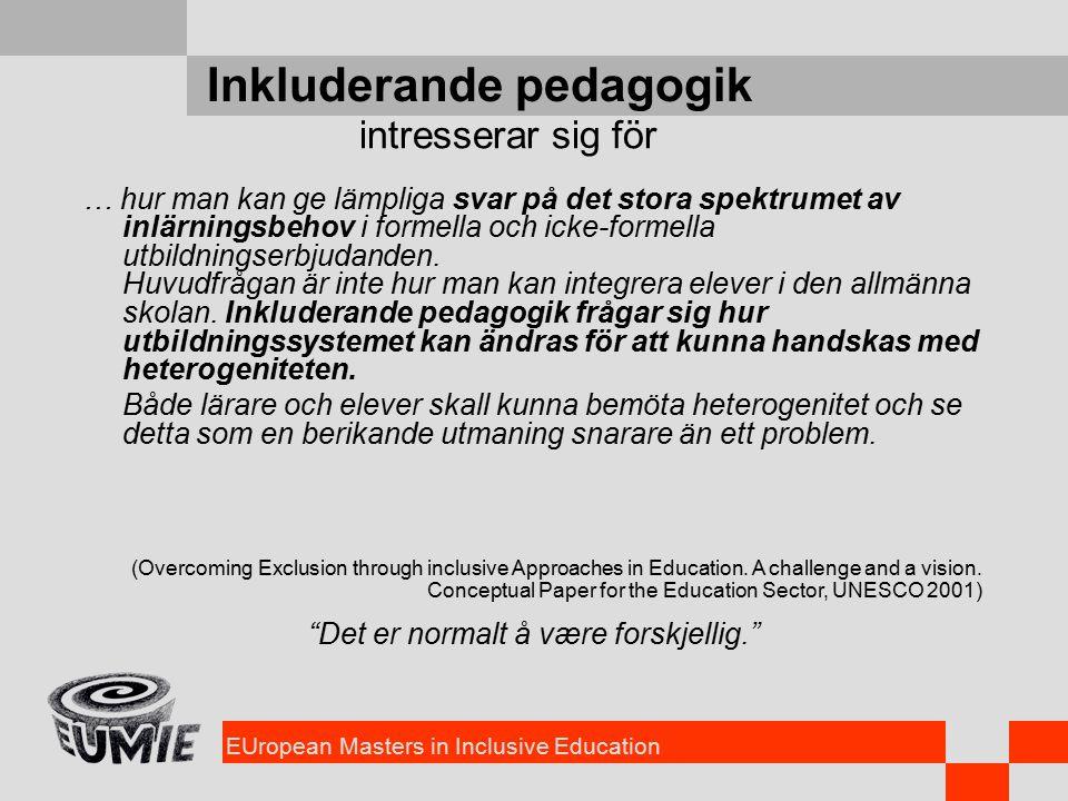 EUropean Masters in Inclusive Education Inkluderande pedagogik … hur man kan ge lämpliga svar på det stora spektrumet av inlärningsbehov i formella och icke-formella utbildningserbjudanden.