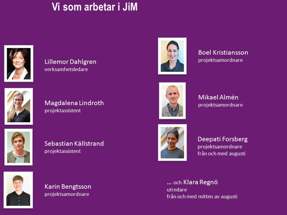 Vi som arbetar i JiM Lillemor Dahlgren verksamhetsledare Magdalena Lindroth projektassistent Sebastian Källstrand projektassistent Karin Bengtsson pro