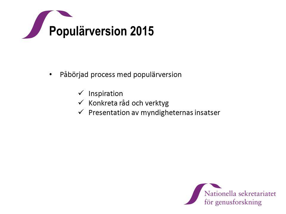 Populärversion 2015 Påbörjad process med populärversion Inspiration Konkreta råd och verktyg Presentation av myndigheternas insatser