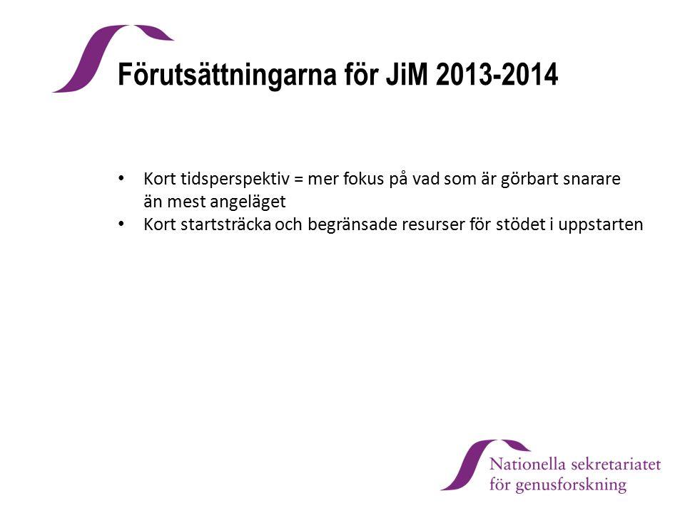 Förutsättningarna för JiM 2013-2014 Kort tidsperspektiv = mer fokus på vad som är görbart snarare än mest angeläget Kort startsträcka och begränsade r