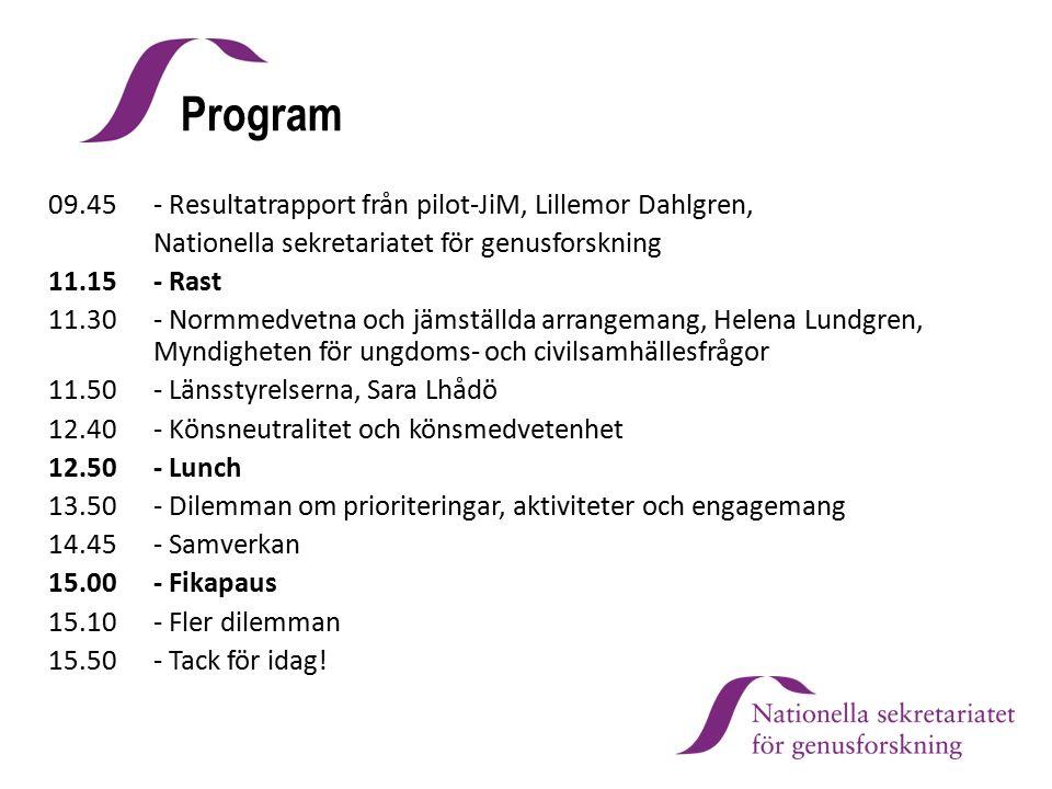 Program 09.45 - Resultatrapport från pilot-JiM, Lillemor Dahlgren, Nationella sekretariatet för genusforskning 11.15 - Rast 11.30 - Normmedvetna och j
