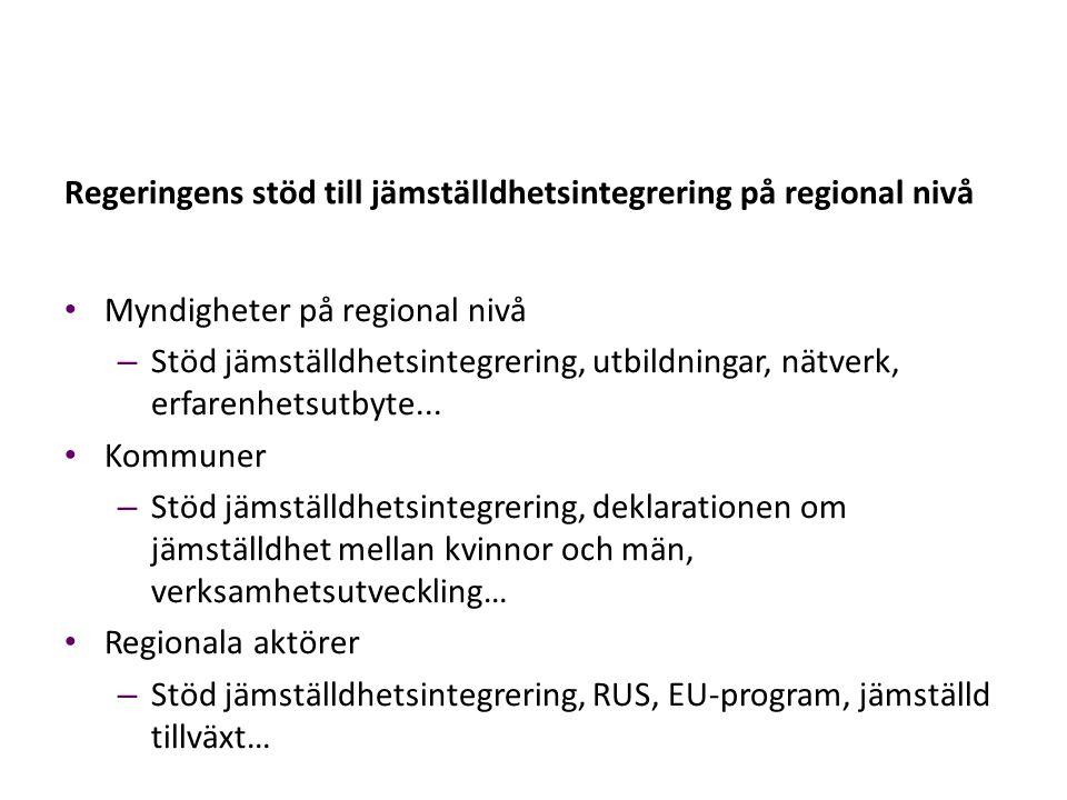Regeringens stöd till jämställdhetsintegrering på regional nivå Myndigheter på regional nivå – Stöd jämställdhetsintegrering, utbildningar, nätverk, e
