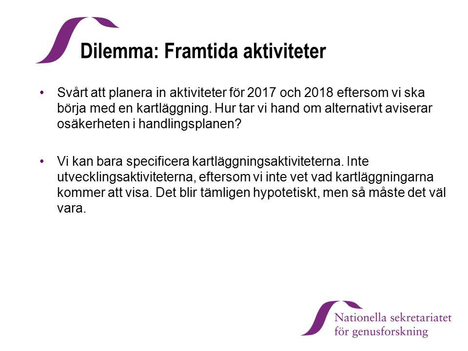 Dilemma: Framtida aktiviteter Svårt att planera in aktiviteter för 2017 och 2018 eftersom vi ska börja med en kartläggning. Hur tar vi hand om alterna