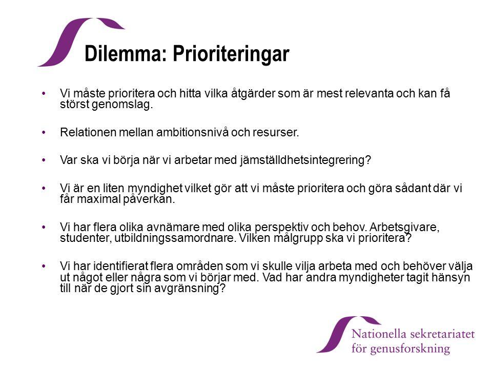 Dilemma: Prioriteringar Vi måste prioritera och hitta vilka åtgärder som är mest relevanta och kan få störst genomslag. Relationen mellan ambitionsniv