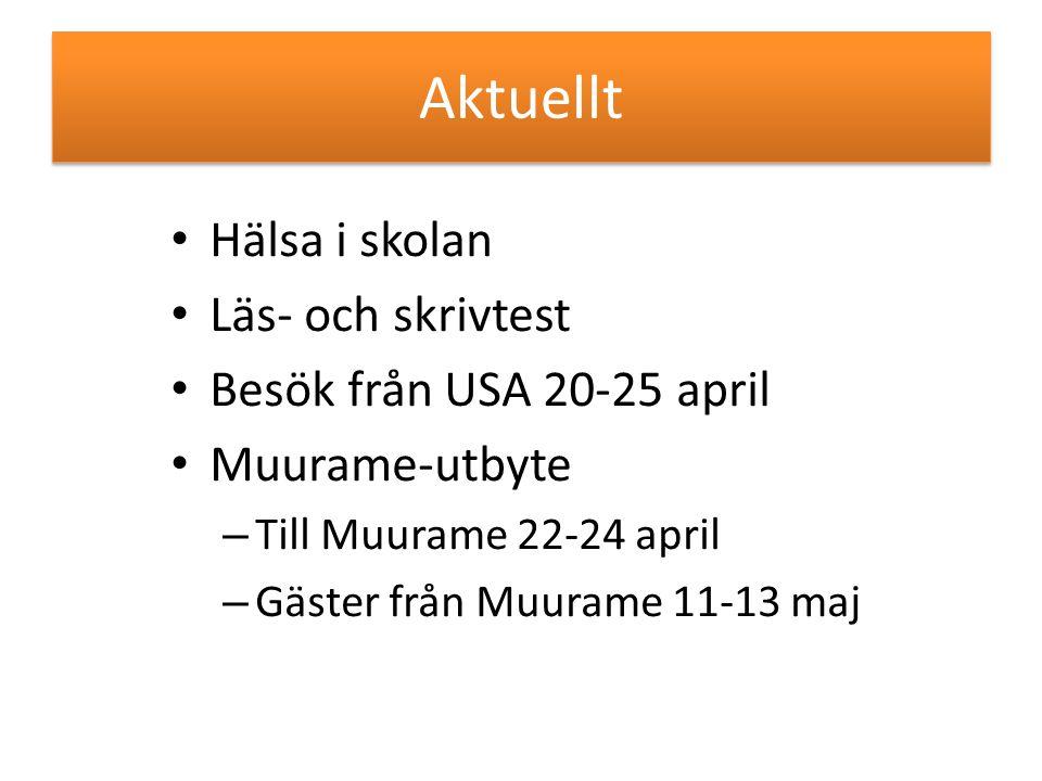 Aktuellt Hälsa i skolan Läs- och skrivtest Besök från USA 20-25 april Muurame-utbyte – Till Muurame 22-24 april – Gäster från Muurame 11-13 maj