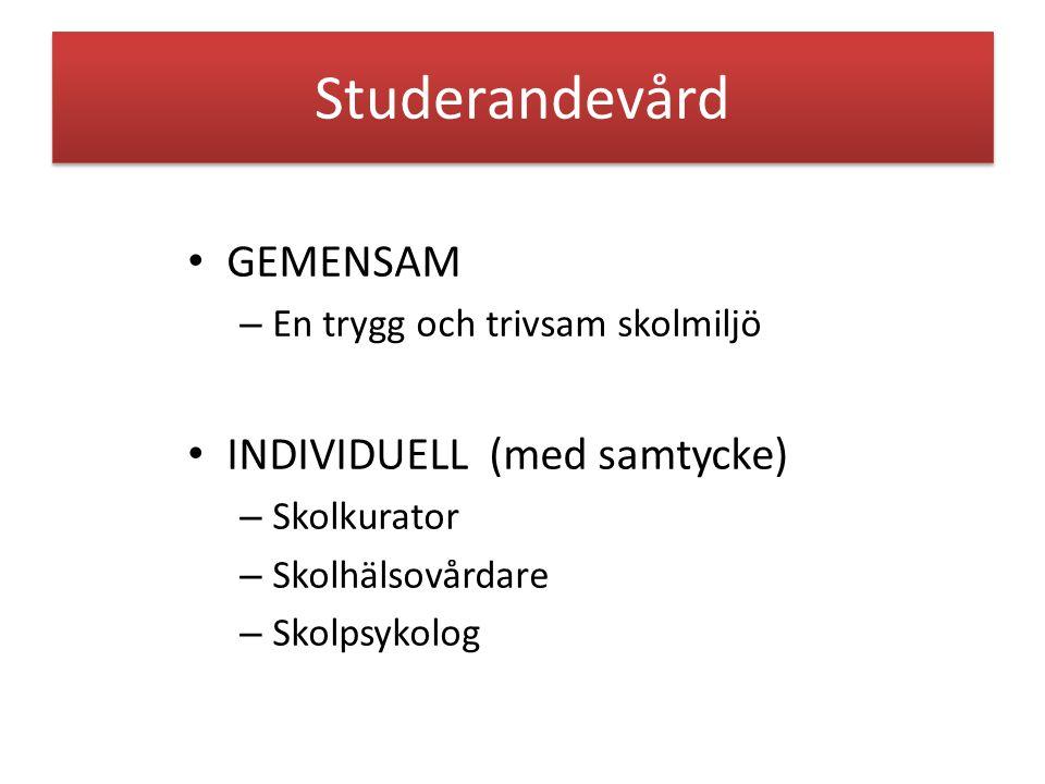 Studerandevård GEMENSAM – En trygg och trivsam skolmiljö INDIVIDUELL (med samtycke) – Skolkurator – Skolhälsovårdare – Skolpsykolog