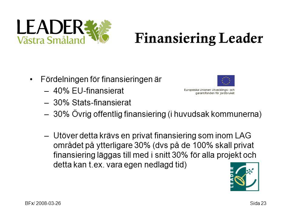 BFx/ 2008-03-26Sida 23 Finansiering Leader Fördelningen för finansieringen är –40% EU-finansierat –30% Stats-finansierat –30% Övrig offentlig finansiering (i huvudsak kommunerna) –Utöver detta krävs en privat finansiering som inom LAG området på ytterligare 30% (dvs på de 100% skall privat finansiering läggas till med i snitt 30% för alla projekt och detta kan t.ex.