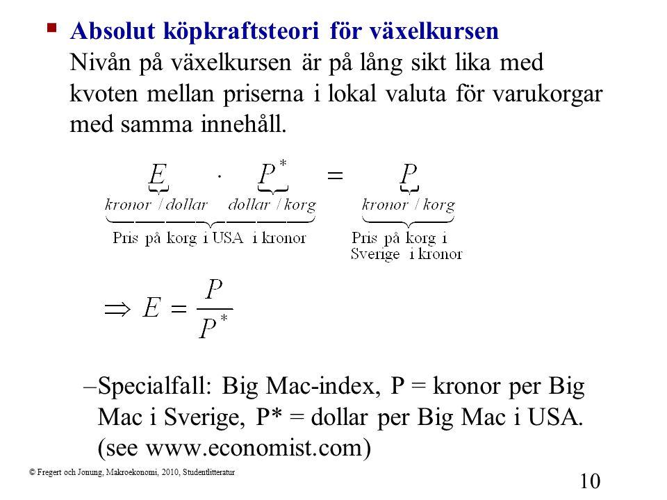 © Fregert och Jonung, Makroekonomi, 2010, Studentlitteratur 10  Absolut köpkraftsteori för växelkursen Nivån på växelkursen är på lång sikt lika med