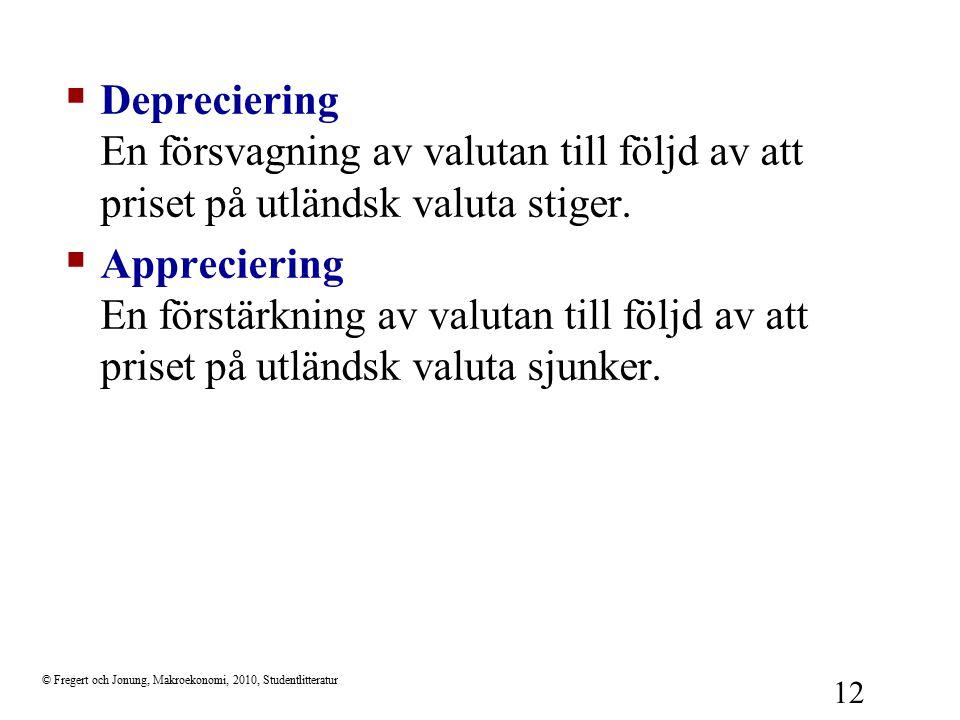 © Fregert och Jonung, Makroekonomi, 2010, Studentlitteratur 12  Depreciering En försvagning av valutan till följd av att priset på utländsk valuta st