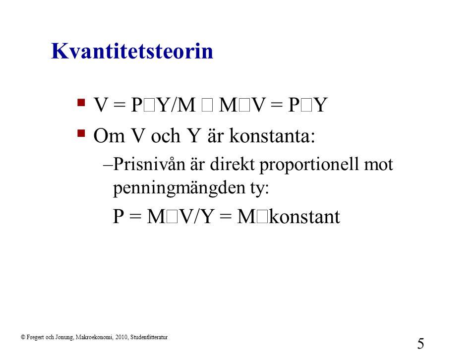 © Fregert och Jonung, Makroekonomi, 2010, Studentlitteratur 5 Kvantitetsteorin  V = P  Y/M  V = P  Y  Om V och Y är konstanta: –Prisnivån är d