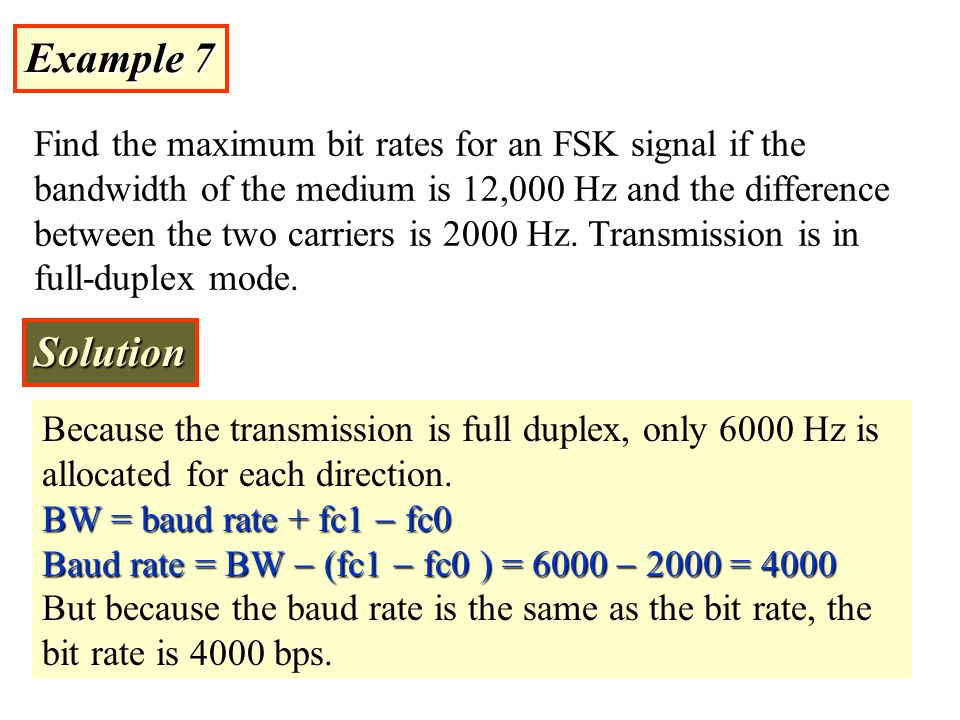 Example 6 Find the minimum bandwidth for an FSK signal transmitting at 2000 bps.